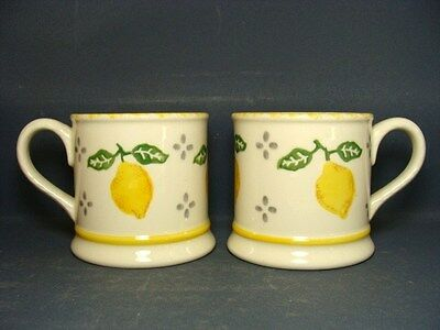 Pair Of Laura Ashley 'summer Fruits' ~ Lemons Mugs In Very Good Used Condition