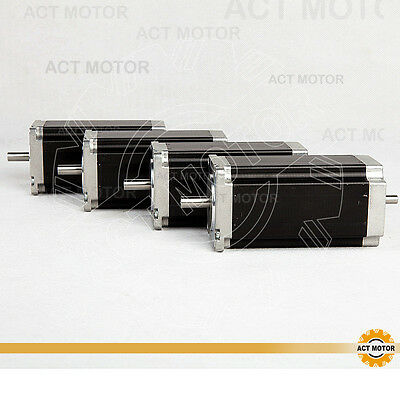 ACT MOTOR GmbH 4PCS Nema23 Schrittmotor 23HS2442B 4.2A 112mm 425oz-in Dual Shaft