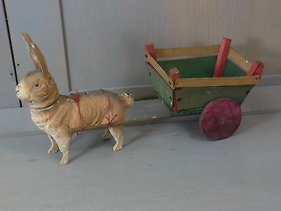 YB11 Bunny Rabbit Antique Paper Mache Candy Container & Wood Cart german 1900´s