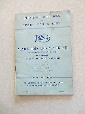 1960s Villiers Mark 12D & 8E 2 stroke motorcycle engine gear units booklet
