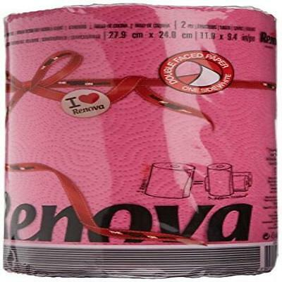 Pack Of 2 Renova Red Label Kitchen Paper Fucsia () Home Household Supplies New