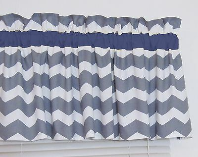 Dark Navy Blue And Gray Chevron Window Curtain Valance Bedroom Nursery Free Ship