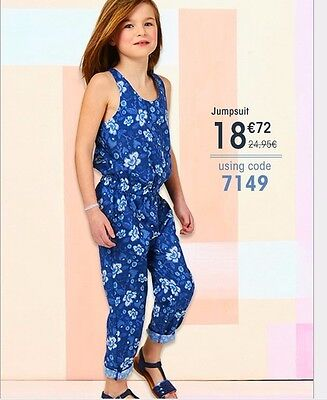 Big/Toddler Girls Kids Jumpsuits Blue Floral One Piece Rompers Outfits 2-14Year