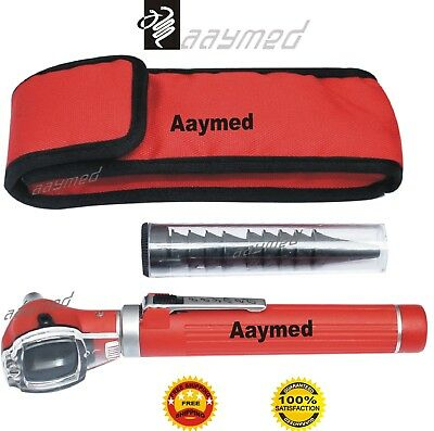 FO Mini Otoscope Red Color Diagnostic Set ENT Surgical Medical EMS Instrument CE