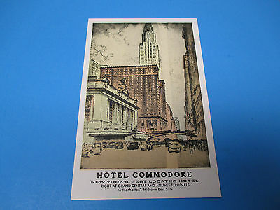 Hotel Commodore Manhattan New York Unused Vintage Color Postcard PC25