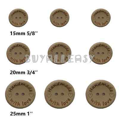 Wood Buttons Sewing Scrapbooking Round Handmade With Love Hearts DIY