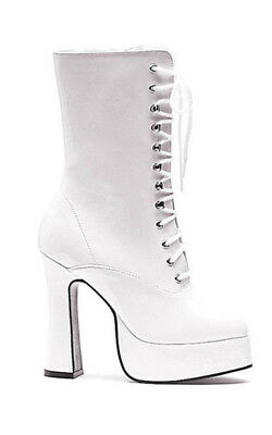 Adult Womens White Dolly Ankle Lace Up Costume Boots Fancy Dress Halloween