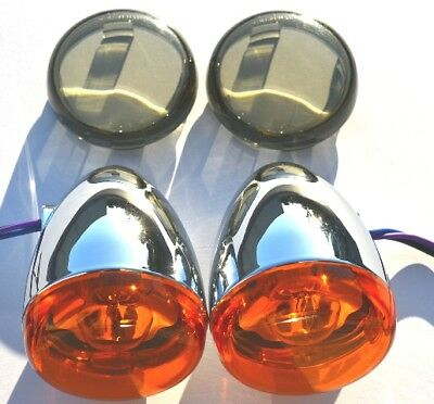 Harley Softail Sportster Dyna Chrome Deuce/Bullet Rear Turn Signals + Lenses
