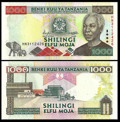 Mint Tanzania 1,000 1000 Shillings 2000 P 34 Choice Unc African Money Elephant