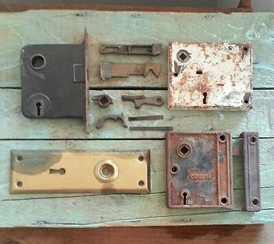 VTG Antique Mortise locks Corbin black cast and more Brass Door Back Plate