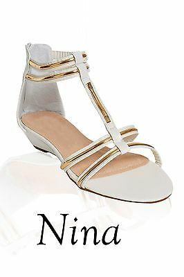 c453a10dc Ladies Womens Low Heel T-BAR Shoes Sandal White and Gold summer sandals