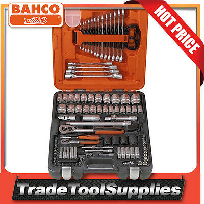 "Bahco 106 Piece 1/4"" & 1/2"" Dynamic Drive Socket Sets + Combination Wrench S106"