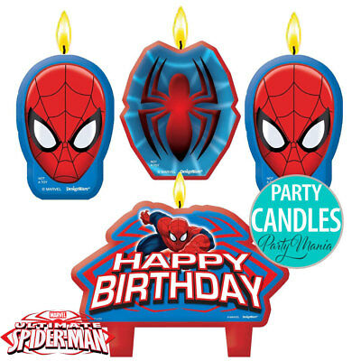 Spiderman Ultimate Birthday Party Supplies Decorations Cake Candle Set Of 4