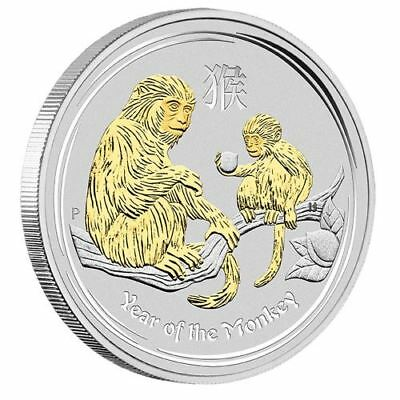 NEW Perth Mint Australian Lunar Year of the Monkey 1oz Pure Silver Gilded Coin