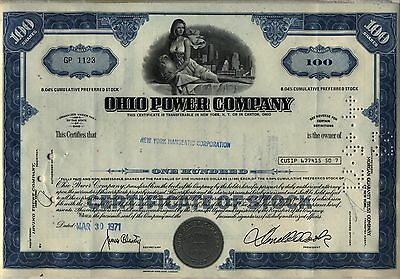 Ohio Power Company Stock Certificate Blue Canton