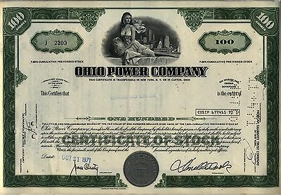 Ohio Power Company Stock Certificate Green
