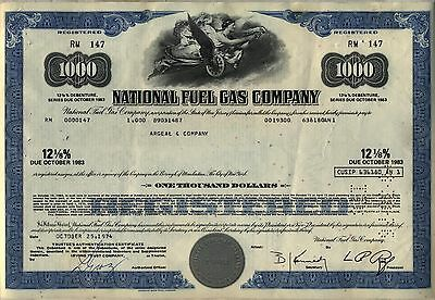 National Fuel Gas Company Bond Stock Certificate New Jersey