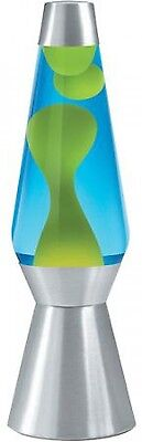 "Lava Lite 27"" Lava Grande Lava Lamp Yellow Wax Blue Liquid Silver Base w/ Light"