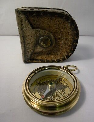 Solid Brass Ship Pocket Compass With Leather Pouch Antique Nautical Keepsake 2""