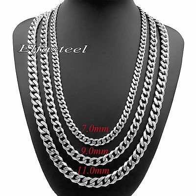 7/9/11mm MENS Chain Stainless Steel Silver Tone Curb Link Necklace 18-36'' inch