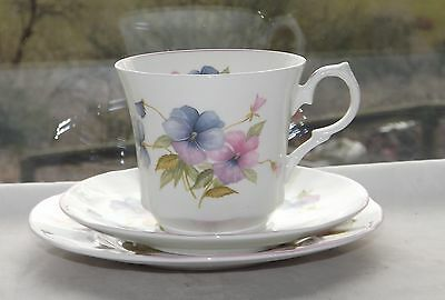 Springfield Staffordshire English Fine Bone China Trio Cup Saucer Plate Pansies