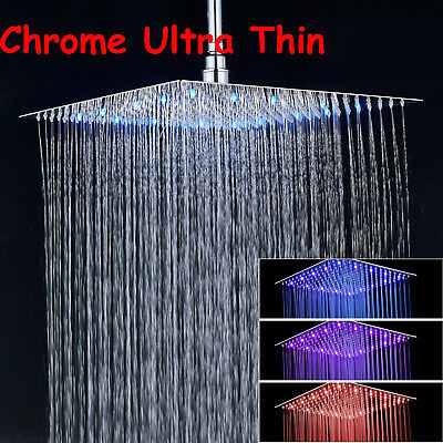 Hotel Spa 16-inch Stainless Steel Square Rainfall Shower Head LED Color Chrome
