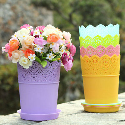 Colorful Flower Planter Tray Home Office Decor Crown Lace Plastic Flowerpot Gift