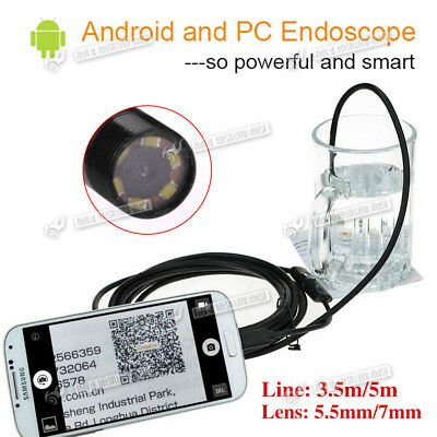 Waterproof 5.5/7mm HD LED Android Endoscope Borescope Inspection Camera Scope