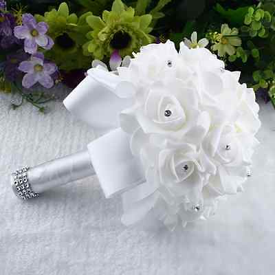 Brooch Bride Wedding Bouquet Bridesmaid Fake Artificial Flowers Gift White