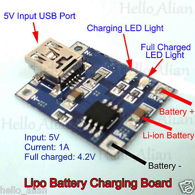 5V Mini USB 1A Lithium Battery Charging 1s 1-cell 3.7v Lipo Charger Module Board