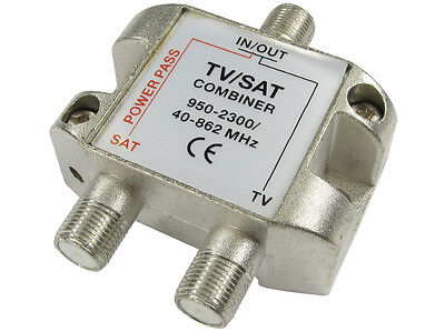 TV Satellite Combiner F Plug Coax Splitter Coaxial Cable Adapter Sky Tv Freesat