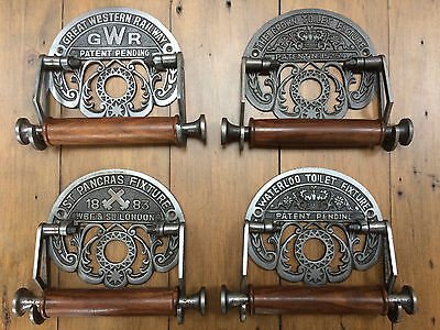 Vintage Cast Iron GWR WATERLOO CROWN Toilet Roll Holder Antique Rustic Retro
