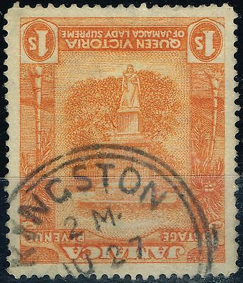 Jamaica 1920 1s Orange-Yellow & Red-Orange SG85a Frame Inverted Neatly Cancelled