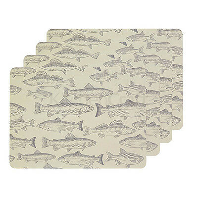 Kitchen Craft Fish Cork Back Laminated Set of 4 Placemat