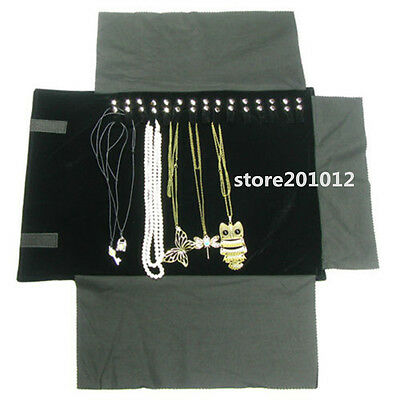 "Portable Jewelry Roll  Necklace Travel Storage Displays Holder 16 Chain 22""x 12"""