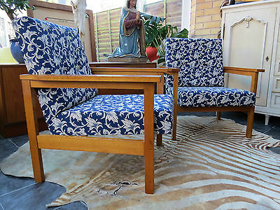 A Very Stylish Pair Of Blue And White Cocktail Lounge Armchairs C1965