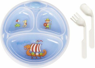 Playshoes Baby Toddler Stay Warm Food Dinner Plate and Cutlery Set Suction Base