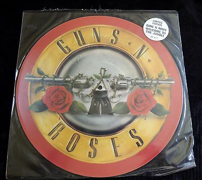"""Rare Guns N' Roses Welcome To The Jungle 12"""" Maxi Picture Disc Red Border !!!"""