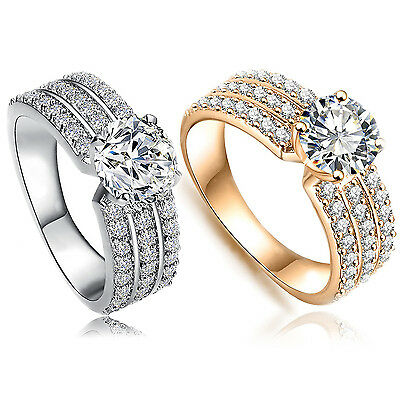 New Gold Silver Cubic Zirconia Ladies Wedding Rings Crystal Engagement Jewellery