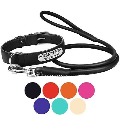 Personalized Leather Dog Collar Leash Set Puppy Small Large Black Brown Grey