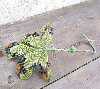 Antique 1900/1920 French sheer green glass & mustard glass beads/ beaded leaves