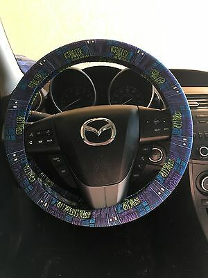 Dr Who Cartoon Tardis Steering Wheel Cover with Famous Sayings
