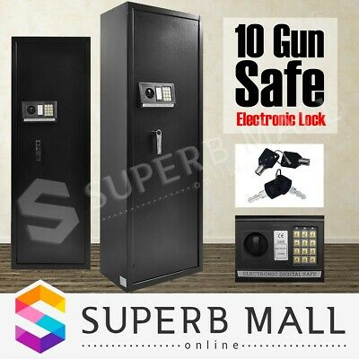 10 Rifle Storage Gun Safe Firearm Security Lockbox Cabinet Heavy Duty Steel