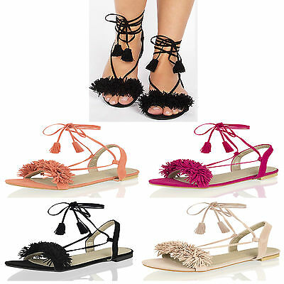 Womens Ladies Summer Flat Tie Up Frill  Tassel Holiday Beach Party Sandals Shoes