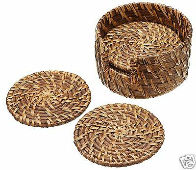 Kitchen Craft Round Bamboo Rattan Table Mats Serving Mat Coasters