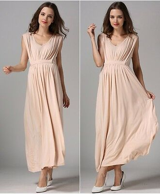 Sale! New Nude Maternity Breastfeeding Nursing Maxi Dress Size S M L 8 10 12 14
