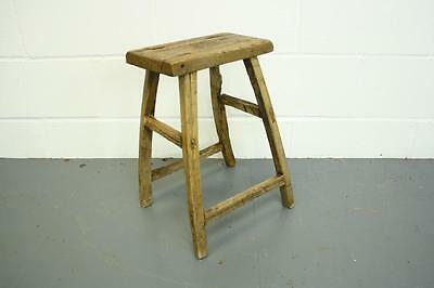 Vintage Rustic Antique Wooden Stool Milking Large Waxed W59
