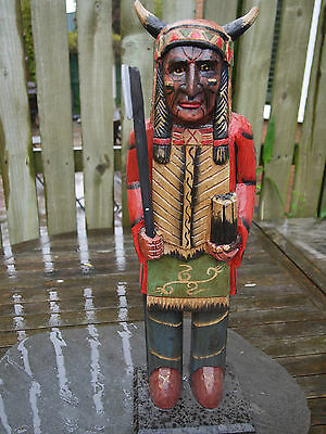 American Indian Wooden Tribal Chief Statue Stands 55Cm Tall