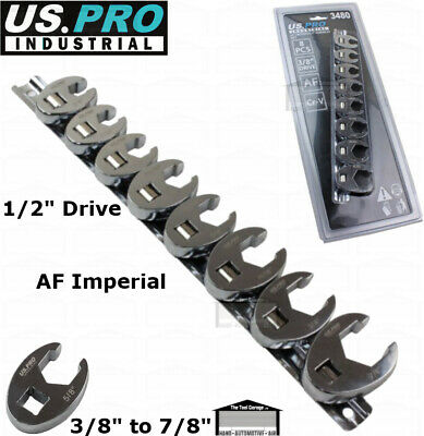 """US PRO BERGEN Tools 8pc 3/8"""" drive SAE AF Imperial Crowfoot Wrench Set 1800 1819"""