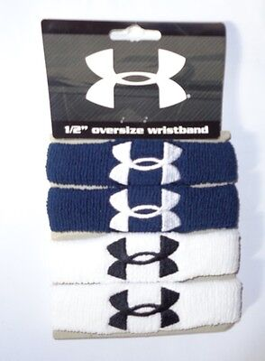 "Under Armour Adult One Size Fits, Navy/White 1/2"" Wristbands (4 Per Pack) NEW!"
